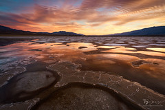 Chameleon Landscape (Jim Patterson Photography) Tags: california travel sunset nature beautiful reflections landscape outdoors photography nationalpark desert scenic deathvalley geology saltflats inyocounty saltpatterns jimpattersonphotography jimpattersonphotographycom seatosummitworkshops seatosummitworkshopscom