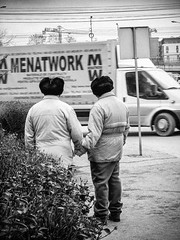 MAN-NAM (Galantucci Alessandro) Tags: street city trip portrait people urban blackandwhite bw italy man art film monochrome photography twins italian europe candid documentary east romania decisivemoment alessandrogalantucci galantucci