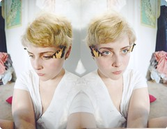 exhausted (greysea muggy) Tags: color me girl face self butterfly wings eyes diptych gracie alone sad cut room pixie tired messy blonde shorthair grainy