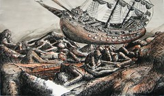 IF: Voyage (ianulimac) Tags: ocean wood old original brown white mountain abstract black art stone sepia illustration pen ink dark landscape flying ship desert time drawing originalart air crowd surreal canyon erosion fantasy cannon sail bleak desolate paiting rockformation buttes caravelle inkwash ianmacdonald crookedpinkiesart