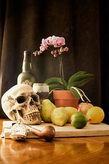 frozen in time (one_man's_life) Tags: stilllife orchid apple skull lemon time crystal pipe porto pear lime pocketwatch odc totw