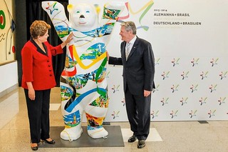 german and brasilian president with my buddy bear