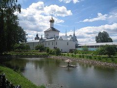 Tolgsky cloister (2) (VERUSHKA4) Tags: blue summer sky cloud white detail reflection tree green church nature water grass birds june architecture canon landscape pond bush iron europe view russia metallic kirchen sunny historic fave swans shore russian vue verdure