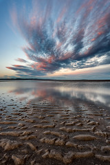 Colour-Tinged Clouds (roseysnapper) Tags: firthofforth leefilters nikkor1424f28 nikond810 circularpolarizer cramond edinburgh scotland beach cloud outdoor reflection river sand seascape shells shore shoreline sunset water sea sky texture serene