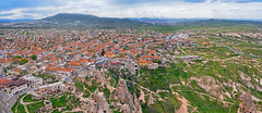 Panorama view  of Goreme village in Cappadocia, Central Anatolia, Turkey (marozn) Tags: chavushin cavusin anatolian anatolia famous mountain top travel rock outdoor hill hiking adventure summer spring stone park view horizon unesco high landscape beautifully turkey nature cappadocia goreme culture valley houses building village city ancient capadocia geological geology kapadokya uchisar national street town church panoramic panorama home