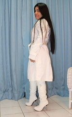 My white trench (johnerly03) Tags: erly philippines filipina filipino pinoy asian fashion high heel long hair white knee boots raincoat hood