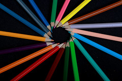 Circular Pencil Rainbow (Miles Gilbert) Tags: pencils colours bright dark lighting alevel flash rainbow sidelight backlight flashphotography circle ring lowkey