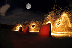 Light em up (johnsinclair8888) Tags: sliderssunday nikon night moon affinityphoto lightpainting steelwool fire sparks cement d750 sigma 15mm bright sky art