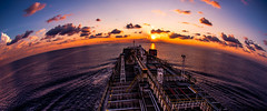 Ocean sunset (mithila909) Tags: sunset ocean ship vessel sky cloud horizon