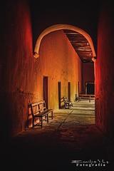 mama 2975 ch (Emilio Segura Lpez) Tags: convento pasillo arco iglesia yucatn mxico mama amarillo banco