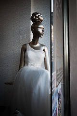 A lady's imagination is very rapid; it jumps from admiration to love, from love to matrimony in a moment.  Jane Austen - Pride and Prejudice (Livietta) Tags: mannequinn manichino window vetrina milano milan bride chinatown dummy sposa