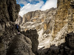 Kingdom of rock! Amazing Bocchette Alte in Brenta Dolomites. Descend from this shelf was a bit iffy (lukskat) Tags: lukaszskatula p7000 nikon trekking brenta dolomites europe mountains italy viaferrata bocchettealte