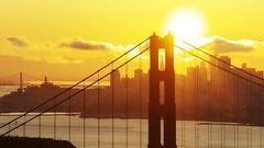 Thanksgiving Sunrise (Xiu Yu SD) Tags: water clouds dawn city skyline alignment transamerica gold yellow red bay bridge goldengate sanfrancisco morning sunrise sun