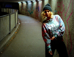 Night shoot (Tony Worrall) Tags: preston north northwest lancs lancashire england northern uk update place location visit area county attraction open stream tour country welovethenorth unitedkingdom claire night evening late shoot street urban sexy woman female candid lone outside done pose test studio underpass subway lit lights sundue adele