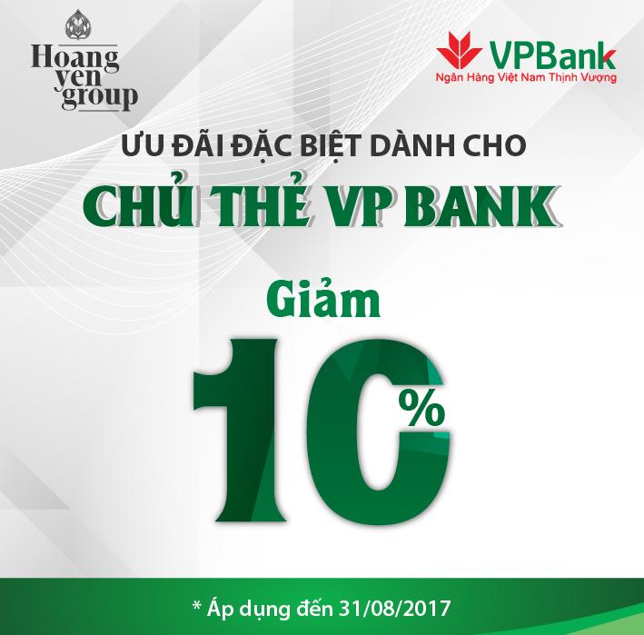 GIẢM 10% CHO CHỦ THẺ VP BANK