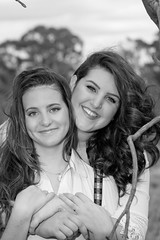 (Hooked on Capture) Tags: youngwomen canon smiles blackwhite portrait trees branch