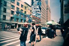 Lorca mural (Jim Davies) Tags: photography analogue film veebotique 35mm vivitar ultrawideandslim uws plastic toycamera kodak ektachrome 160t 160asa slidefilm crossprocessed xpro e6 c41 expired hardexpired newyorkcity nyc newyork bigapple downtown canalstreet lafayettestreet
