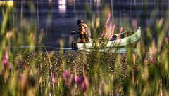 Michigan lake scene (hz536n/George Thomas) Tags: 2009 ef70200mmf4lusm michigan photomatix september summer canon5d hdr upnorth boat water lake skidway copyright