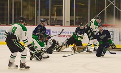 Mad scramble... (R.A. Killmer) Tags: sru skate skill goal net energy skater ice hockey college acha puck stick competition green white wild scramble