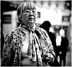 Asian Lady (1980blue Street) Tags: street candid woman girl female mono monochrome blackandwhite cardiff queenstreet autumn asian chinese japanese korean