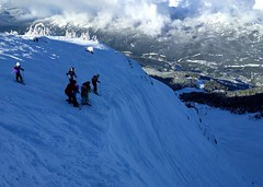 Contemplating the entrance to Cockalorum (Ruth and Dave) Tags: dave catrin fiona andrew kirsten trevor stella calvin skier snowboarder children cockalorum westbowl whistler whistlermountain whistlerblackcomb entrance drop steep intimidating scary skiresort view clouds