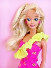 1994 Ruffle Fun Barbie Doll #12433 (The Barbie Room) Tags: 1994 ruffle fun barbie doll 12433 ruffles frills frill pink yellow sash blond blonde 1990s 90s