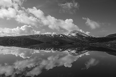 Shades of Grey (Brian Travelling) Tags: mono blackandwhite greyscale white black lochgarry highlands highland landscape hills mountains clouds sky light dark pentaxkr pentax pentaxdal peaceful peace beautiful beauty calm exploration explore earth interesting loch mountain nature natural snow weather