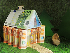 Saving for Retirement (Batikart) Tags: roof chimney house money tree green art grass lines rock closeup canon germany way table g