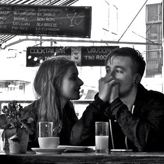 P1230293 (Akbar Simonse) Tags: boy people urban bw love blancoynegro coffee girl monochrome square couple zwartwit juice candid nederland streetphotography terras lamour meisje jongen cocktailbar straatfotografie dedoka akbarsimonse