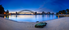 Beached Before Dawn (Rodney Campbell) Tags: longexposure blue sky green water rock clouds sunrise sand operahouse harbourbridge soh cpl shb gnd09