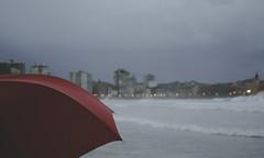2574 (Sau GM) Tags: city november autumn red sea urban espaa cold beach umbrella rouge lights luces mar spain rojo dof village gijn ciudad asturias playa noviembre explore villa urbana otoo fro paraguas asturies xixn cantbrico explored