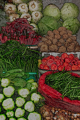 [2013-43] Marketplace Still Life-Bali (dreamscaper) Tags: red bali brown green colors vegetables tomato indonesia beans market potato cabbage greenbeans celery chilis cropplants