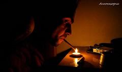 Aurora Smoke (Aurorasogna Mila) Tags: light boy portrait man fire cigarette smoke mila uomo luci ritratto luce fuoco stefano ragazzo fumo sigaretta aurorasogna
