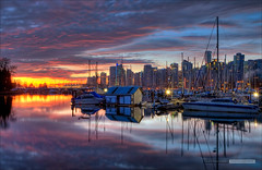 Sunday Sunrise (Clayton Perry Photoworks) Tags: autumn sky fall skyline vancouver clouds sunrise reflections boats stanleypark hdr