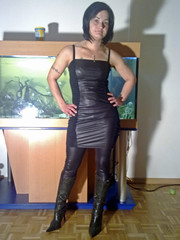 leather look # 1 (trapez) Tags: black sexy stockings girl beautiful beauty leather shiny boots babe lingerie thong string tight schwarz spandex leder lycra leotard leggings stiefel geil schn glnzend glanz stringbody strmpfe thongbody glanzleggings