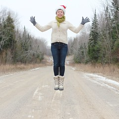 merry (sonyacita) Tags: winter self square outside jumping santahat