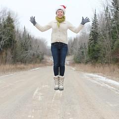 merry (sonyacita) Tags: winter self square outside jumping santahat
