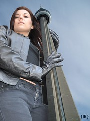 CNtower (iffelbuffer) Tags: tower girl leather cn gloves angry tall giantess iffelbuffer wwwhannahandlauracom