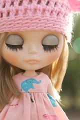 Hello Morning Light (SleepyGirl2) Tags: bear pink hat hair eyes 1st sleep january ears blonde blythe custom 2014 dolll