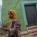 little girl with chador in the alleys of Harar
