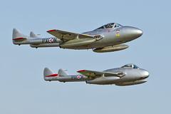 De Havilland Vampire FB6 and T55 - 2 (NickJ 1972) Tags: wings vampire aviation over norwegian airshow mpx 2012 dehavilland airday t55 fb6 northweald dh115 dh100 kpx sedxs lndhz spiritofthenorwegians