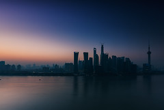 The First Twilight of 2014 (Lord Shen) Tags: china city urban horizontal sunrise canon river landscape photography dawn asia shanghai outdoor wideangle landmark pudong lujiazui panoramicview