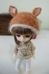 Doe Ears Hat (nettle.) Tags: hat yellow 30 ball asian toys cafe doll dolls geek you handmade group cm made tiny micro ear lea bjd addicted fans dedicated dollfie nettle basic fashions jointed balljointed latidoll addicts lati babyz tinybjd latidah gupr ♥bjd