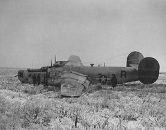 "US bomber B-24 Liberator of USAAF 465th Bomber Group after crash landing in the Poltava airfield, Ukraine, Jan 4, 1945. Poltava was the main airfield of Operation Frantic, a USAAF ""shuttle bombing"" operation sending bombers to hit German targets and then land in locations in the USSR. This system extended the range of US bombing significantly. The operation though fizzled out because of Russian underlying hostility and refusal to protect the Frantic bases adequately."