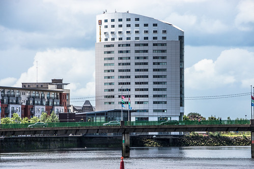 THE CLARION HOTEL IN LIMERICK [CARS CROSSING SHANNON BRIDGE]