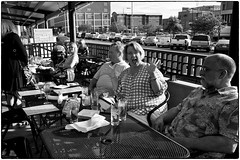 On The Patio, Bread And Cup, May 24, 2014 (Maggie Osterberg) Tags: family bw restaurant blackwhite nebraska susan steve fred lincoln sue gr ricoh maggieo breadcup silverefexpro2 183mmf28