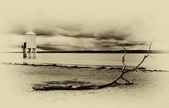 Antique Burnham On Sea (Justsha2) Tags: sea blackandwhite lighthouse beach tide burnhamonsea 24105mm canon60d 10stopper