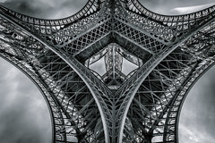 Parisian Curves (80D-Ray) Tags: sky blackandwhite paris france monochrome lines architecture clouds shadows curves eiffeltower latoureiffel eiffeltoren