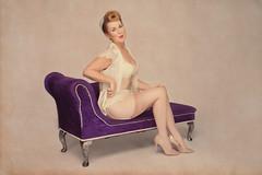 Sharon (painterphotography99) Tags: pinup purple chaiselongue 1940s 1950s stockings suspenders seams heels negligee bra lipstick victoryroll cheeky playful albertovargas vintage retro