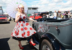Jackie_7396 (Fast an' Bulbous) Tags: blonde girl woman hot sexy car truck vehicle automobile hotrod santa pod dragstalgia dress petticoat high heels stilettos hotty chick babe model mature milf pinup nikon d7100 gimp custom